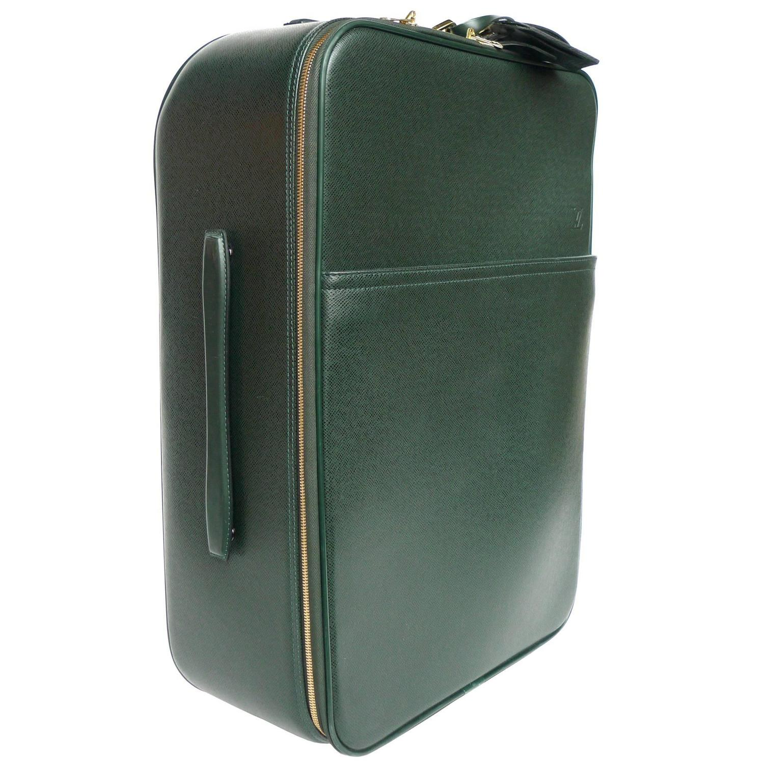 Louis Vuitton Green Pégase 55 Taiga Leather Travel Suitcase at 1stdibs