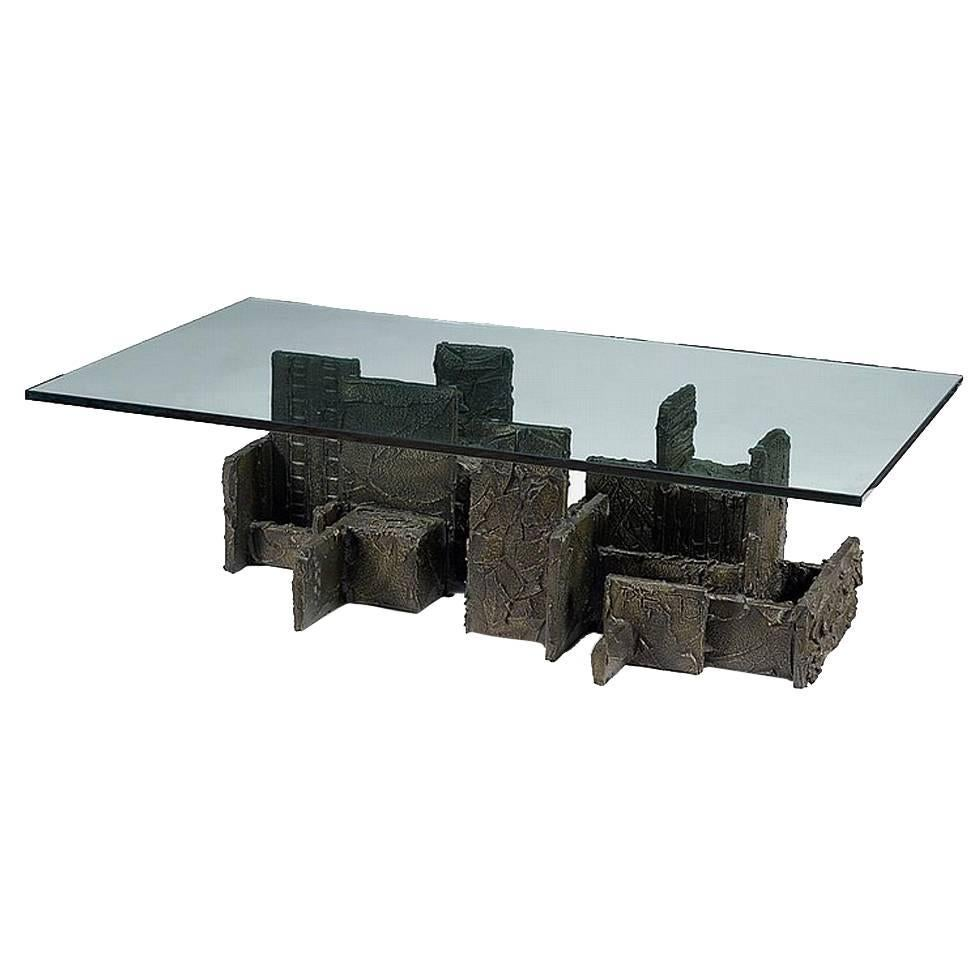 Sculpted Bronze Coffee Table by Paul Evans