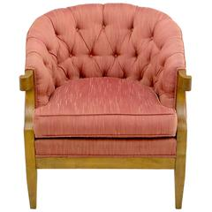 Winsor White & William Millington for Baker Button-Tufted Silk & Walnut Club Cha