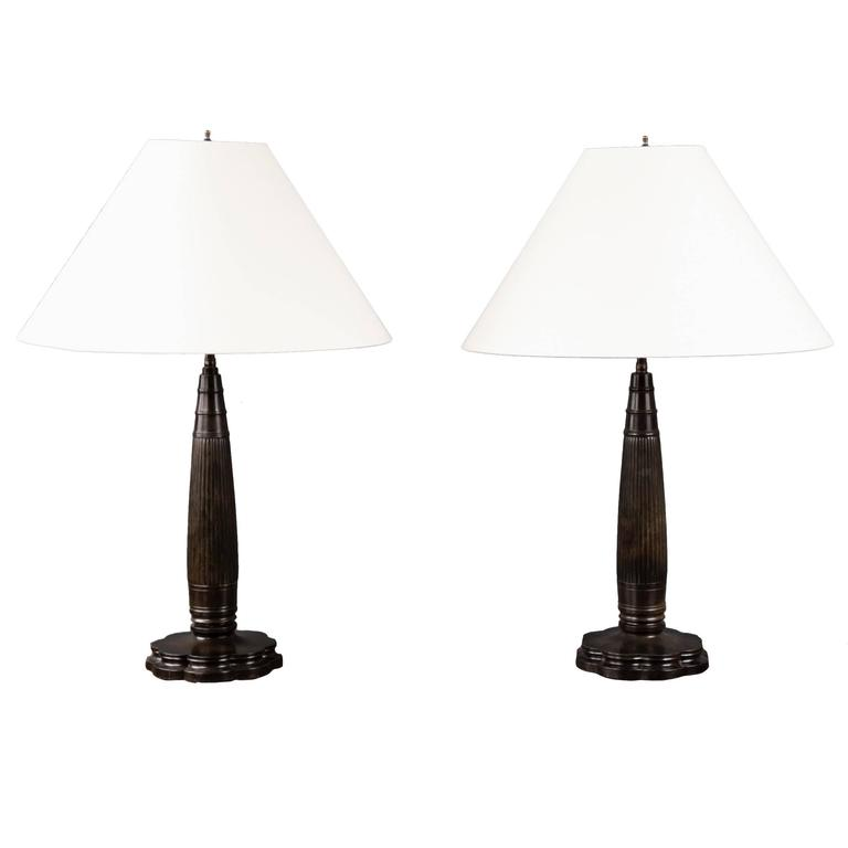 Pair of Column Lamps by Just Andersen, Denmark, circa 1930