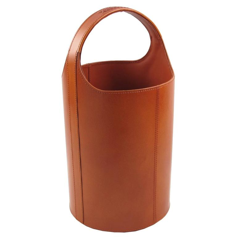 Waste Paper Baskets mid-century leather waste paper basket, circa 1960s for sale at