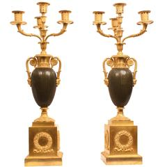 Pair of French Early 19th Century Gilt Bronze Candelabra