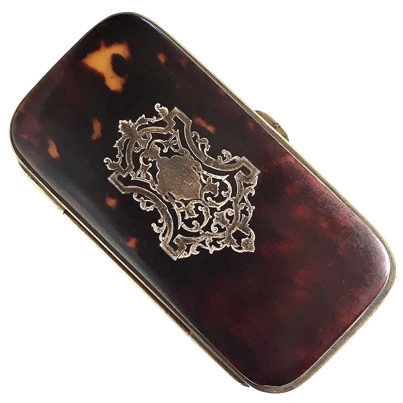 Victorian Tortoiseshell And Brass Pocket Cigar Case Circa