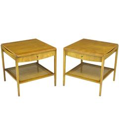Pair Widdicomb Bleached Walnut & Cane Single Drawer End Tables
