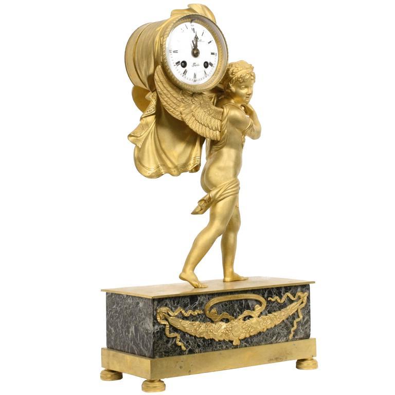 French Empire Figural Gilt Bronze Mantel Clock