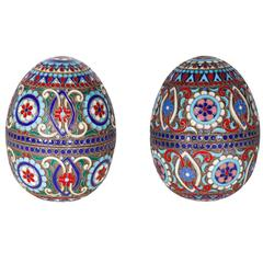 Pair of Silver Gilt and Cloisonne Enamel Eggs