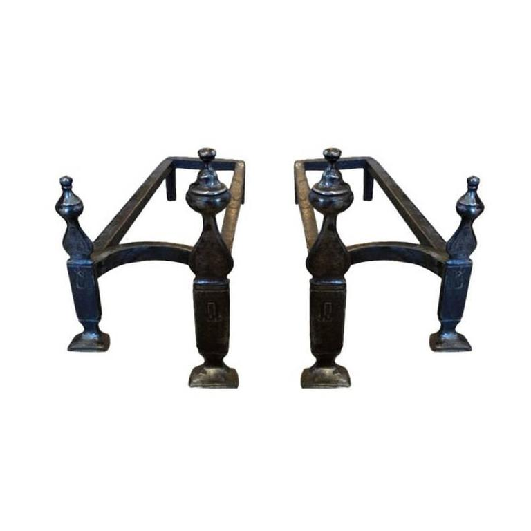 18th Century Double Andirons For Sale