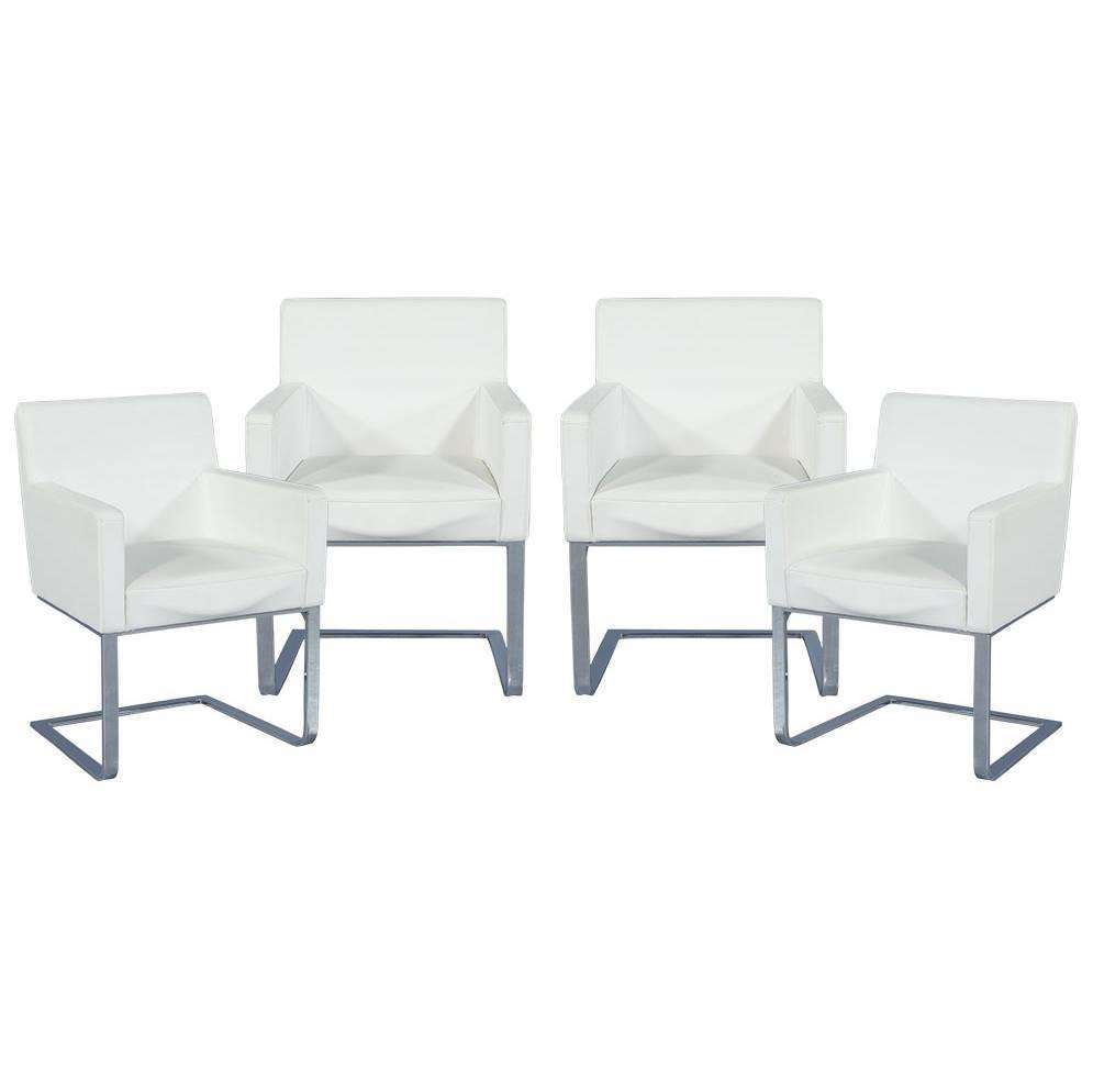 White Leather Dining Room Set: Set Of Four Modern White Leather Cantilever Chairs At 1stdibs