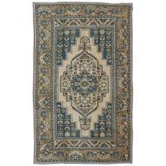 Vintage Turkish Rug with Geometric Design in Blue, Gold and Cream Colors