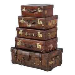 Set of Five Antique Leather Luggage Cabin Trunks