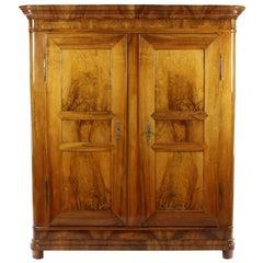 Biedermeier Cupboard, Walnut Massively and Veneered, circa 1820-1825