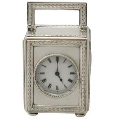 Sterling Silver Boudoir Clock, Antique Edwardian
