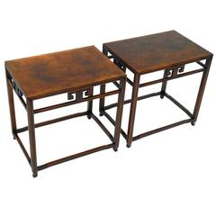 Pair of Vintage Asian Style Signed Baker Side Tables