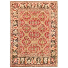 Antique Turkish Rug with Paisley Border and Over All  Hexagon Design