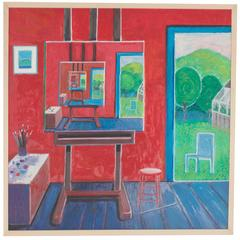 Mid-Century Oil Painting on Board Depicting an Artist's Studio