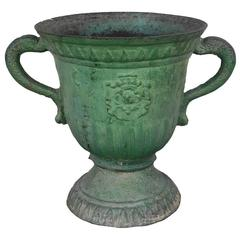 Antique Late 17th Century Green French Iron Planter with Crest