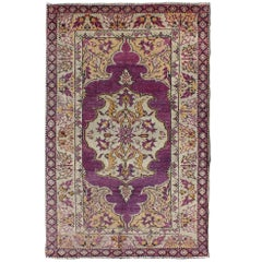 Purple Vintage Turkish Oushak Rug with a Traditional Medallion Design