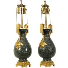 Pair of 19th Century Ormolu-Mounted Granite Vases