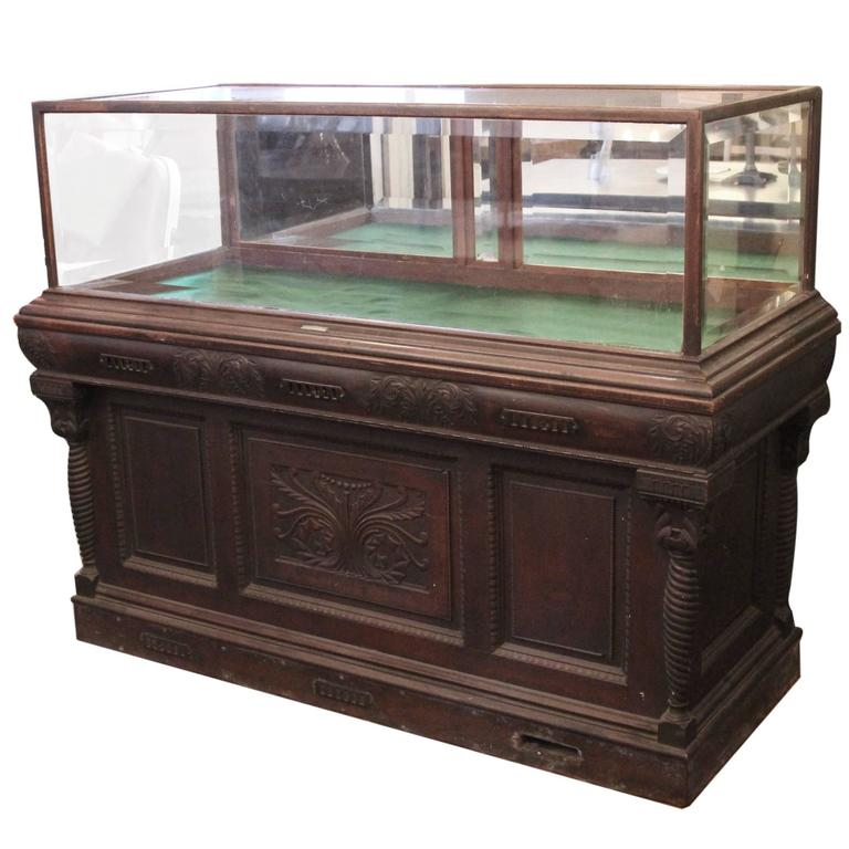 1800s Carved Oak Cigar Humidor and Mirrored Showcase by Whitcomb Cabinet Co.