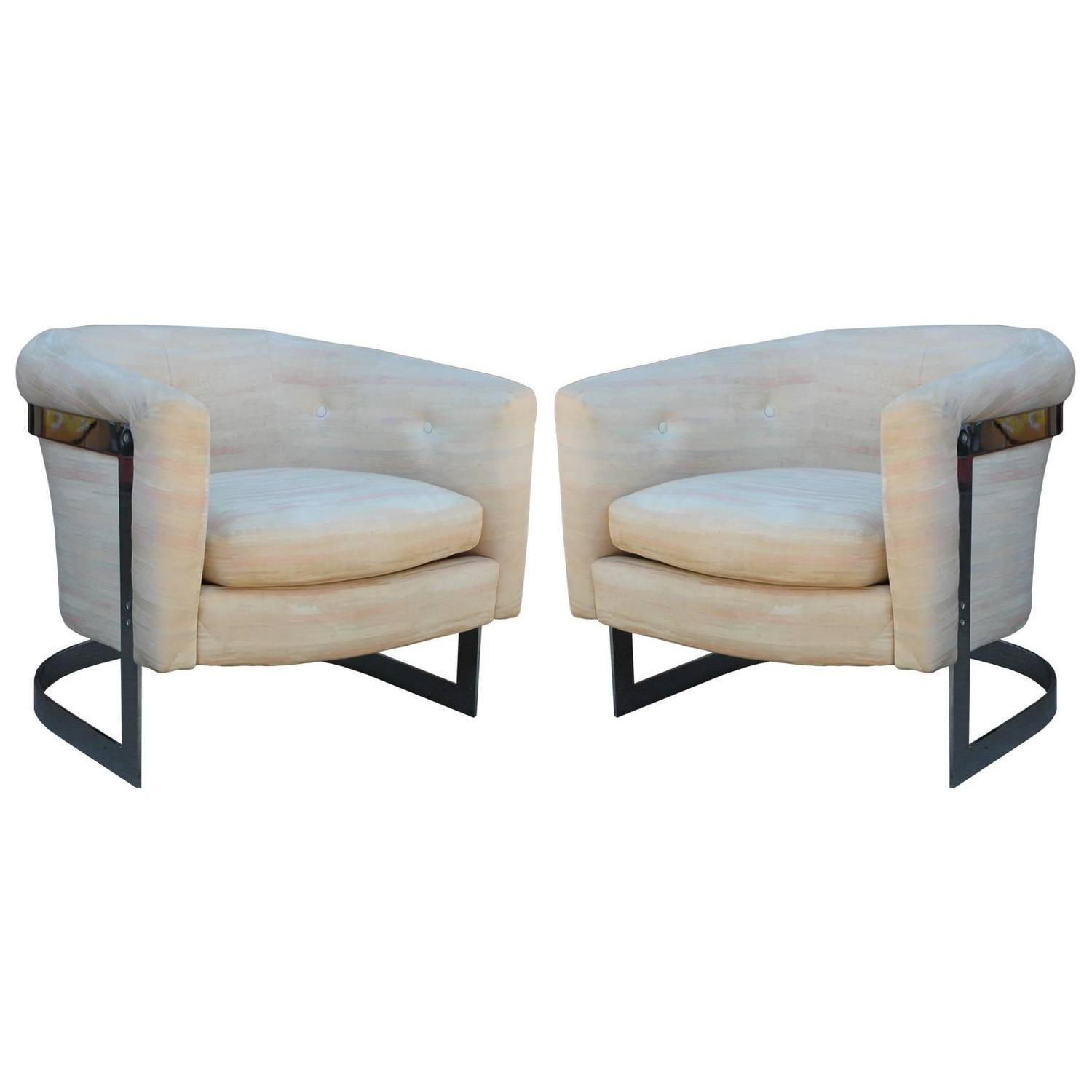 Pair Of Milo Baughman Chrome Cantilevered Barrel Lounge