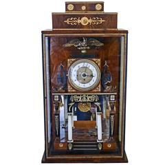 Vienna Empire Mantel Table Clock Wooden Chest, circa 1815