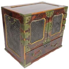 19th Century Chinese Inlaid Rosewood and Brass Bound Jewelry Chest