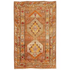 Beautiful Turkish Oushak Rug with Geometric Design
