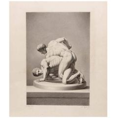 """19th Century Classical Male Nude Study """"Wrestlers"""""""