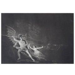 John Martin, Sin Preventing The Combat Between Satan And Death, Mezzotint, 1827