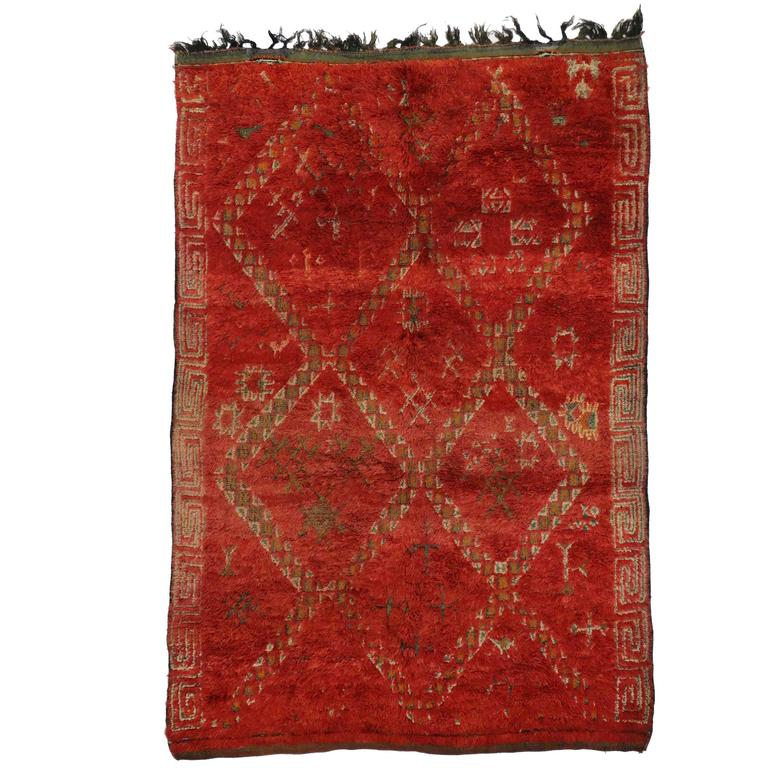 Midcentury Modern Rug: Mid-Century Modern Style Red Berber Moroccan Rug With