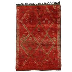 Mid-Century Modern Style Red Berber Moroccan Rug with Tribal Design