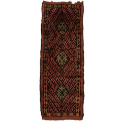 Vintage Berber Moroccan Runner with Mid-Century Modern Style and Tribal Design