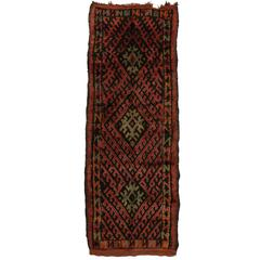 Mid-Century Modern Style Berber Moroccan Runner with Tribal Design