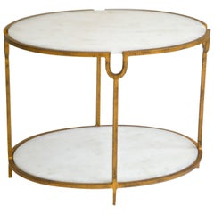 Hollywood Regency Gilt Metal Side Table
