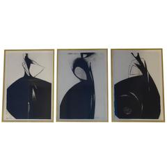"""""""Containment Girls, Set of Three Framed Charcoal Drawings, by Tony Giddio"""