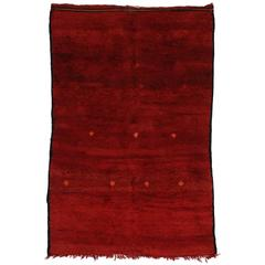 Mid-Century Modern Style Berber Moroccan Rug in Red