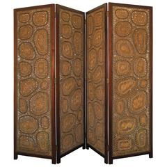 Folding Screen of Tropical Wood and Woven Jute, Mexico, circa1950.