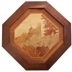 Emile Galle Inlaid Marquetry Castle Tray, circa 1895