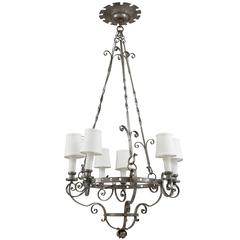 19th Century Metal Six-Light Chandelier