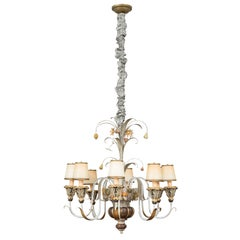 Eight-Light Carved Wood Venetian Chandelier with Metal Detail