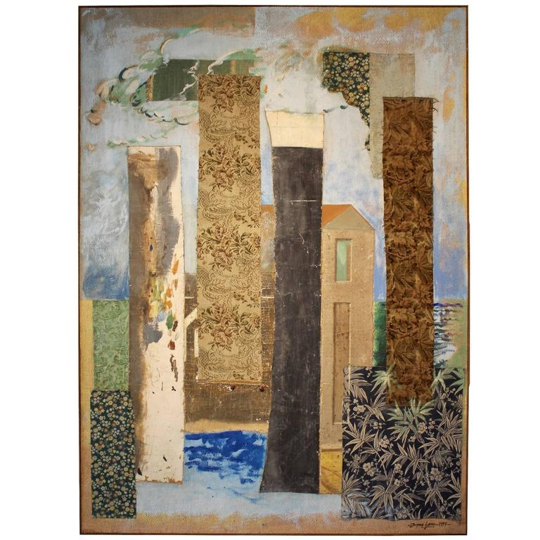 """Large Abstract Post-Modern Multi-Media Painting by Jacques Lamy, """"The Wool Mill"""""""
