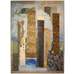 "Large Abstract Post-Modern Multi-Media Painting by Jacques Lamy, ""The Wool Mill"""