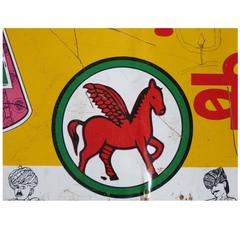 Old Tin Advertising Sign 'Litho,' N India, circa 1980s