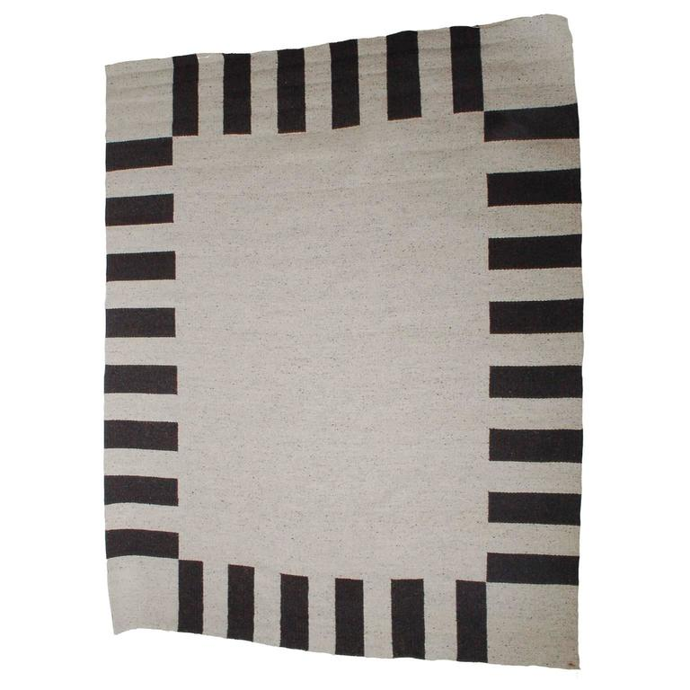 """""""Clarity of Black and White"""" Wool and Linen Carpet by Sally Vowell Gurley, 1984"""
