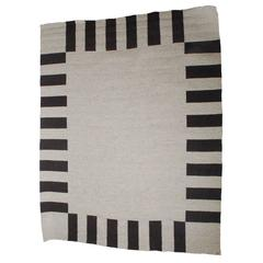 """Clarity of Black and White"" Wool and Linen Carpet by Sally Vowell Gurley, 1984"