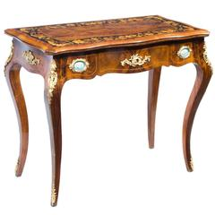 Antique French Card Table with Porcelain Plaques, circa 1880