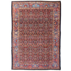 Antique Persian Malayer Rug with All Over Herati Design In Shades of Blue
