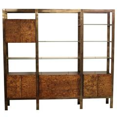 Large Burl, Brass and Black Lacquer Wall Unit by John Stuart