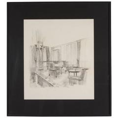 Interior Scene, Pencil and Charcoal on Paper, French, 1940s