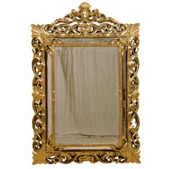 An Italian 19th Century Gilt Wood Mirror with Ornate Foliage Decor, Gold Color